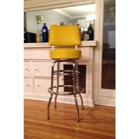 Double Ring Commercial 30 Inch Bar Stool with Back - Yellow (0-1958YEL)