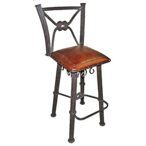 Western Iron Bar Stool With Cushion Set Of 2