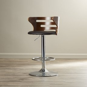 Zegna Adjustable Height Swivel Bar Stool with Cushion