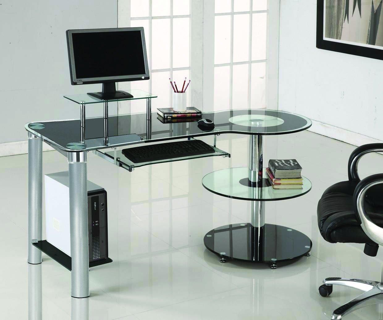 Beau Black Glass U0026 Chrome Modern Desk With Circular Shelves