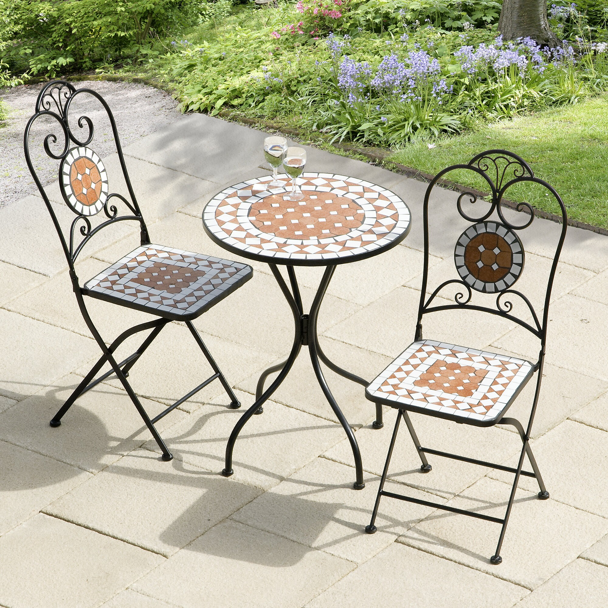 Exceptionnel Diamond Mosaic 3 Piece Bistro Set