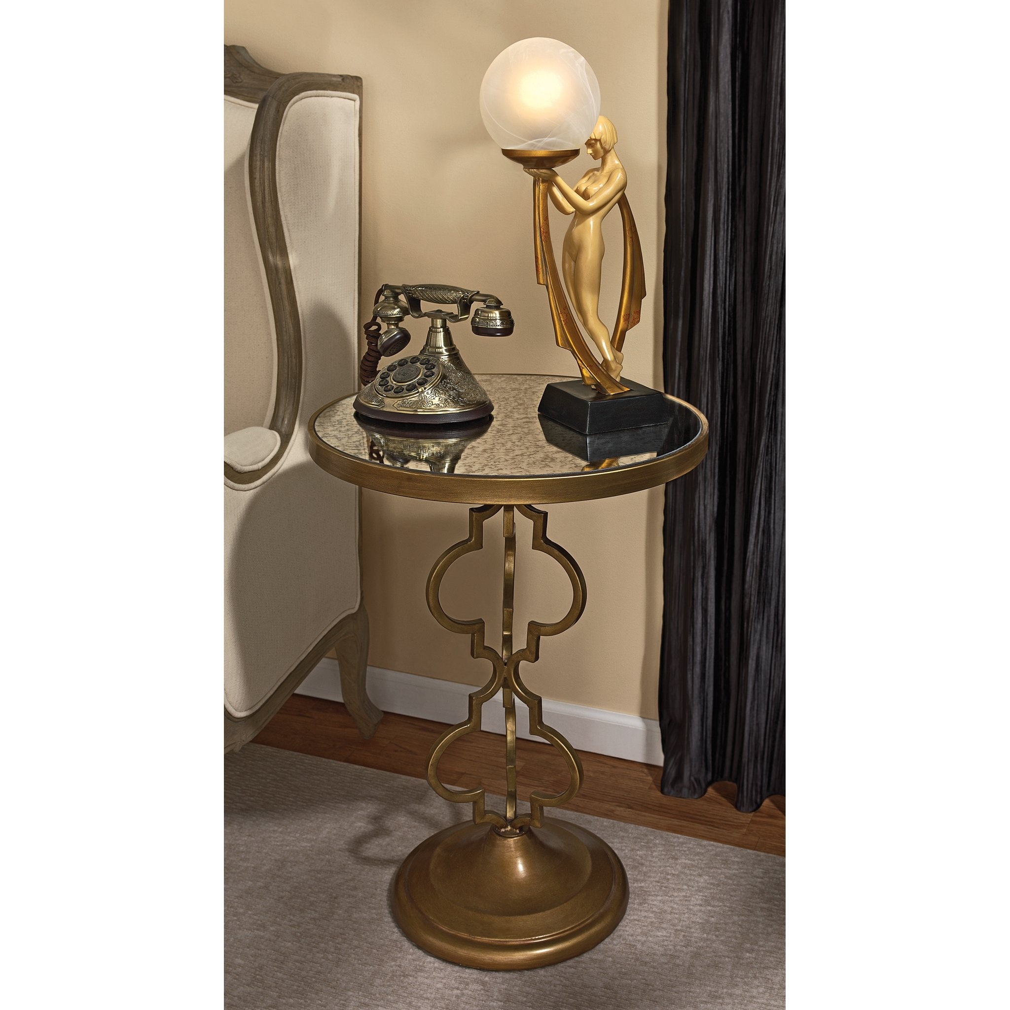 Film Noir Art Deco Mirrored End Table