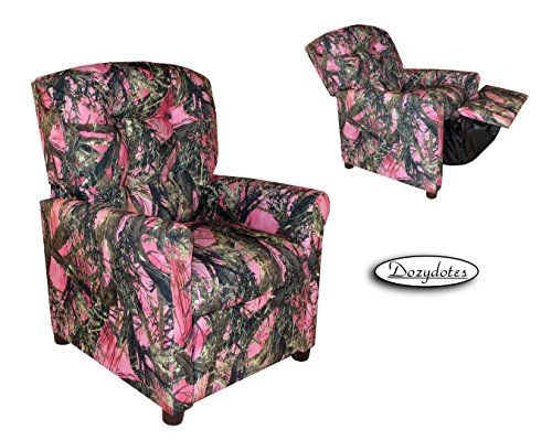 Four Button Pink Camouflage Cotton Fabric Kidsu0027 Recliner Chair