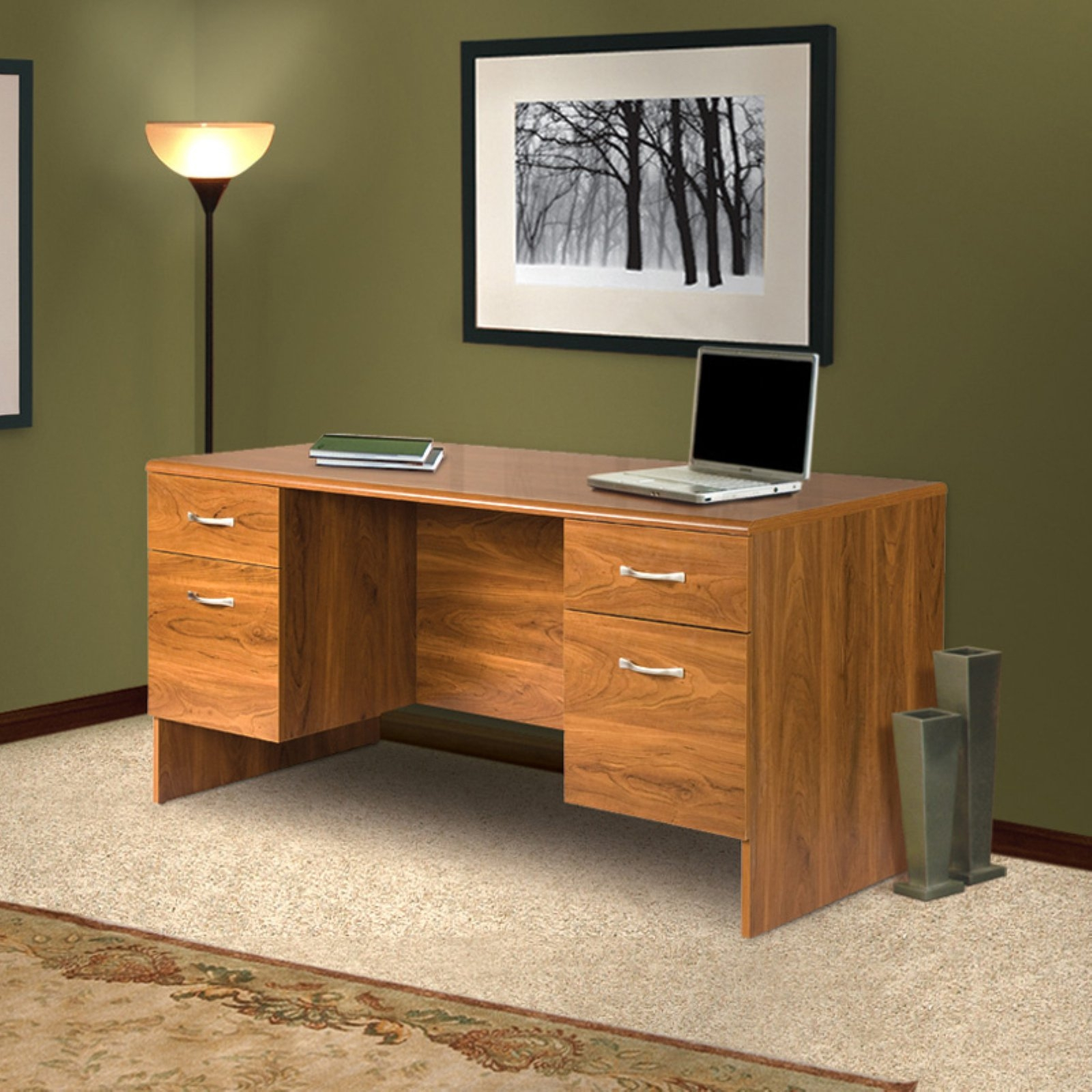 Office Adaptations Executive Desk with Double Pedestal