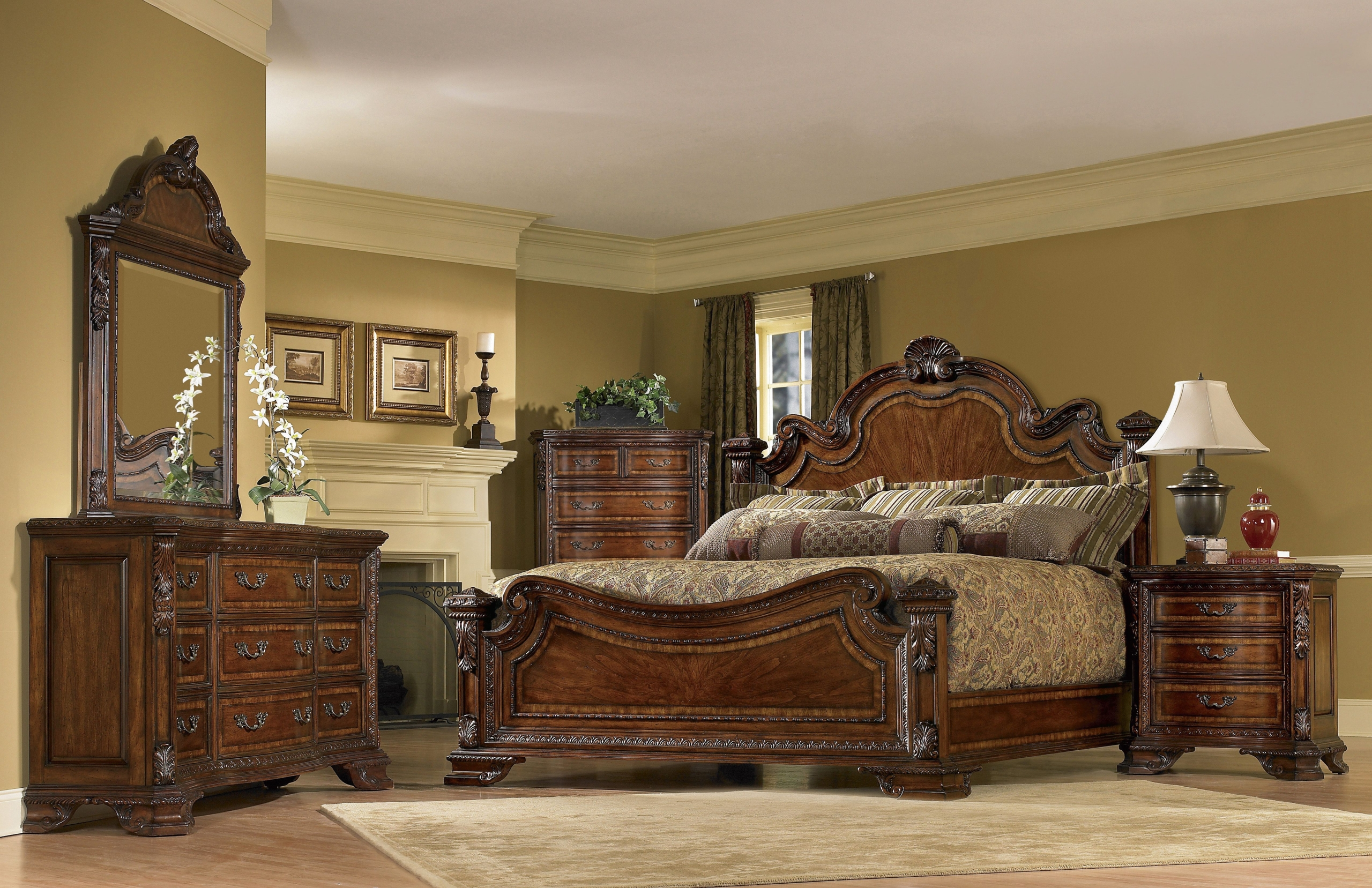 Attractive Old World Panel Customizable Bedroom Set