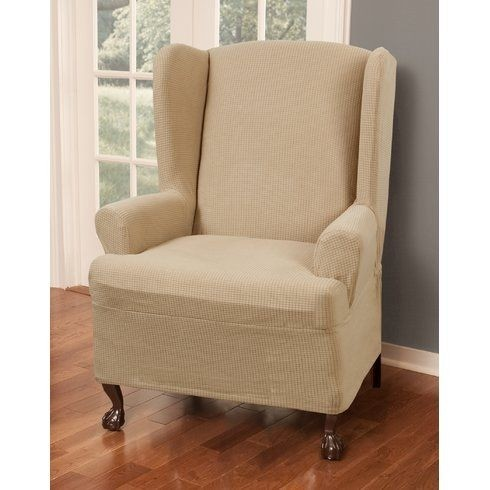 Reeves Stretch One Piece Wing Chair T Cushion Slipcover