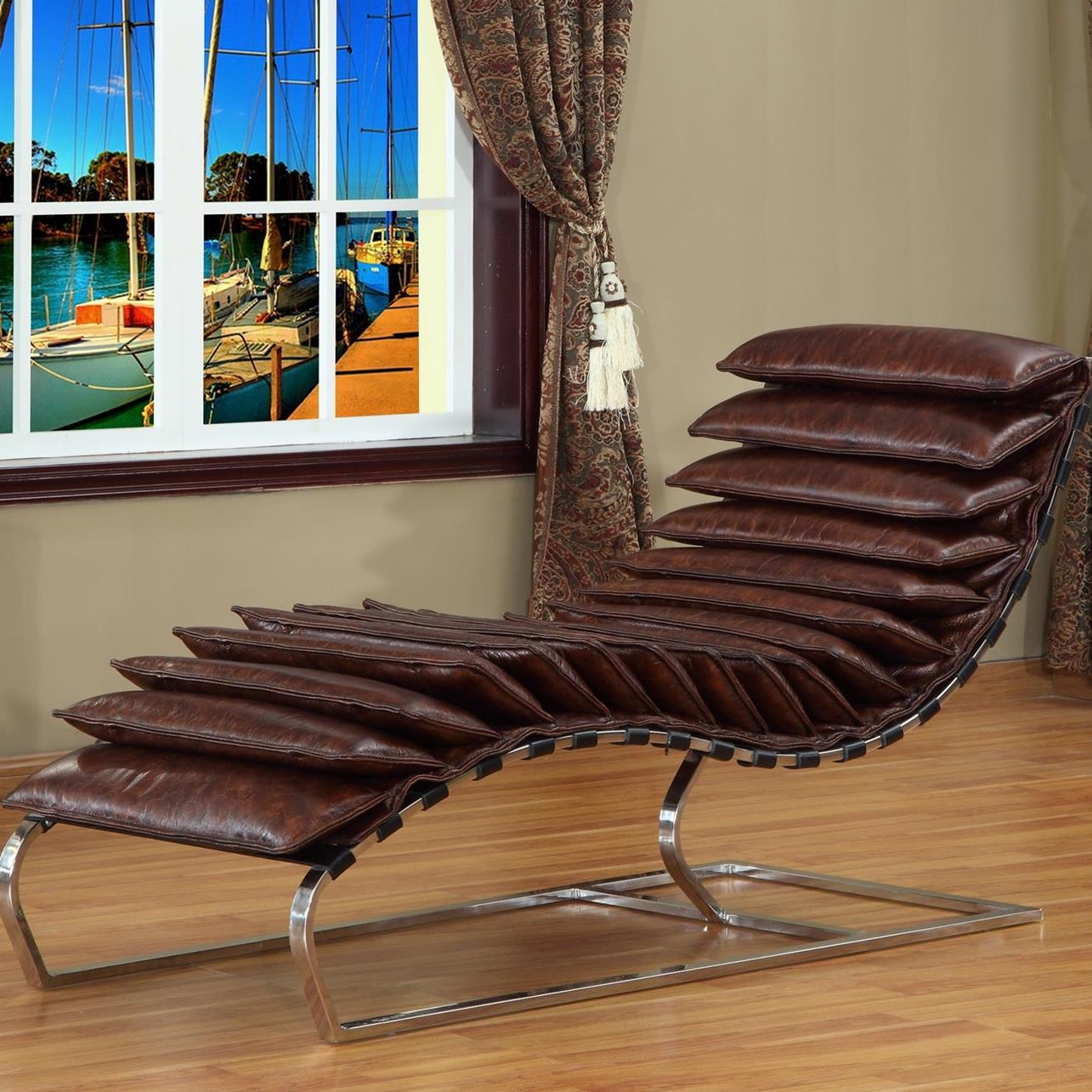 Rino Leather Chaise Lounge