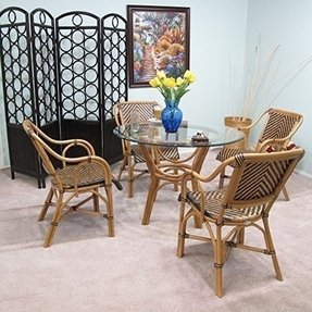 Safi Rattan Dining Furniture 5PC Set [4-Chairs and 1-Table w/ Glass]