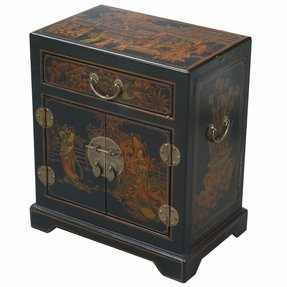 Handmade Tang Dynasty Style Black Bonded Leather End Table / Accent Table