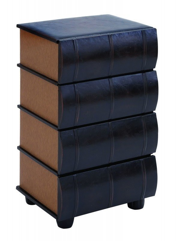 Leather Books End Table