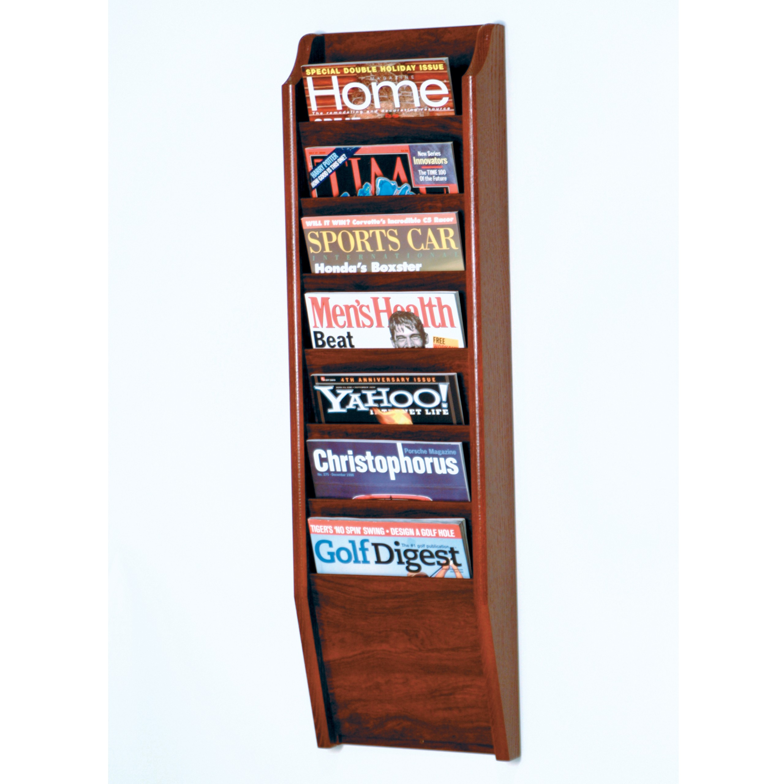Exceptionnel 7 Pocket Wall Mount Magazine Rack
