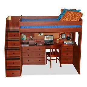 Berg Furniture Utica Full Dorm Loft Bed With Stairs