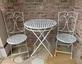 Camilla Series White Metal Patio Furniture Bistro Set Wrought Iron Anti Rust Table