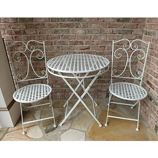 22c0516965a9 Camilla Series White Metal Patio Furniture Bistro Set- wrought iron