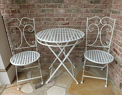 Camilla Series White Metal Patio Furniture Bistro Set  Wrought Iron,  Anti Rust Table