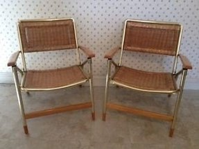 Mid century telescope folding patio furniture wicker chairs vintage