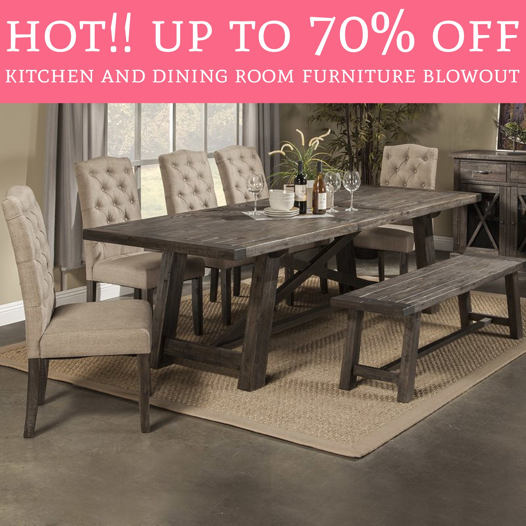 Newberry 7 Piece Dining Table Set & Bench Style Kitchen Table Sets - Foter