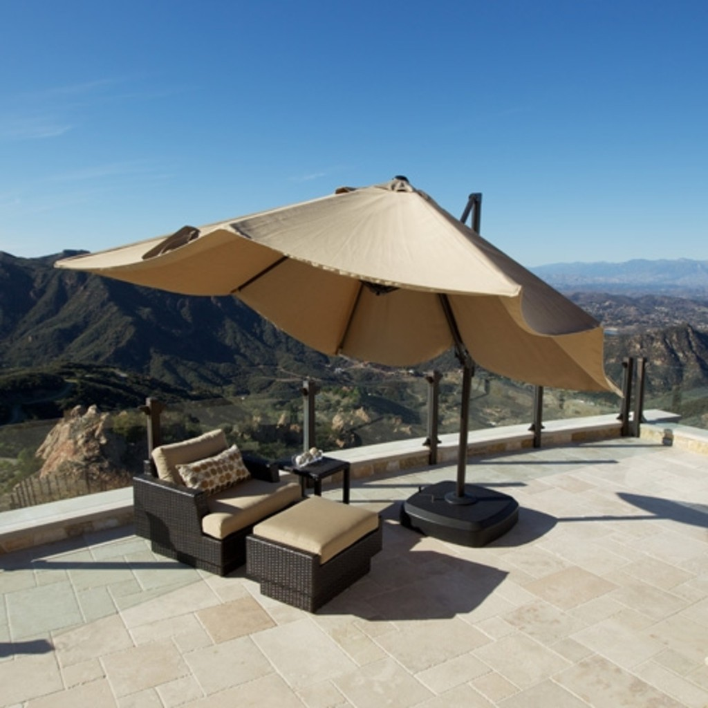 Portofino Signature Resort Umbrella 10u0027 X 10u0027 Sunbrella® Fabric Canopy and Swivel Base & Offset Patio Umbrellas - Foter