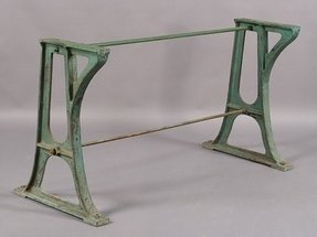 582 vintage industrial cast iron base console table