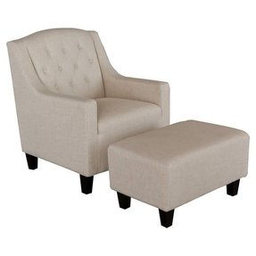 Benez Upholstered Club Arm Chair with Ottoman