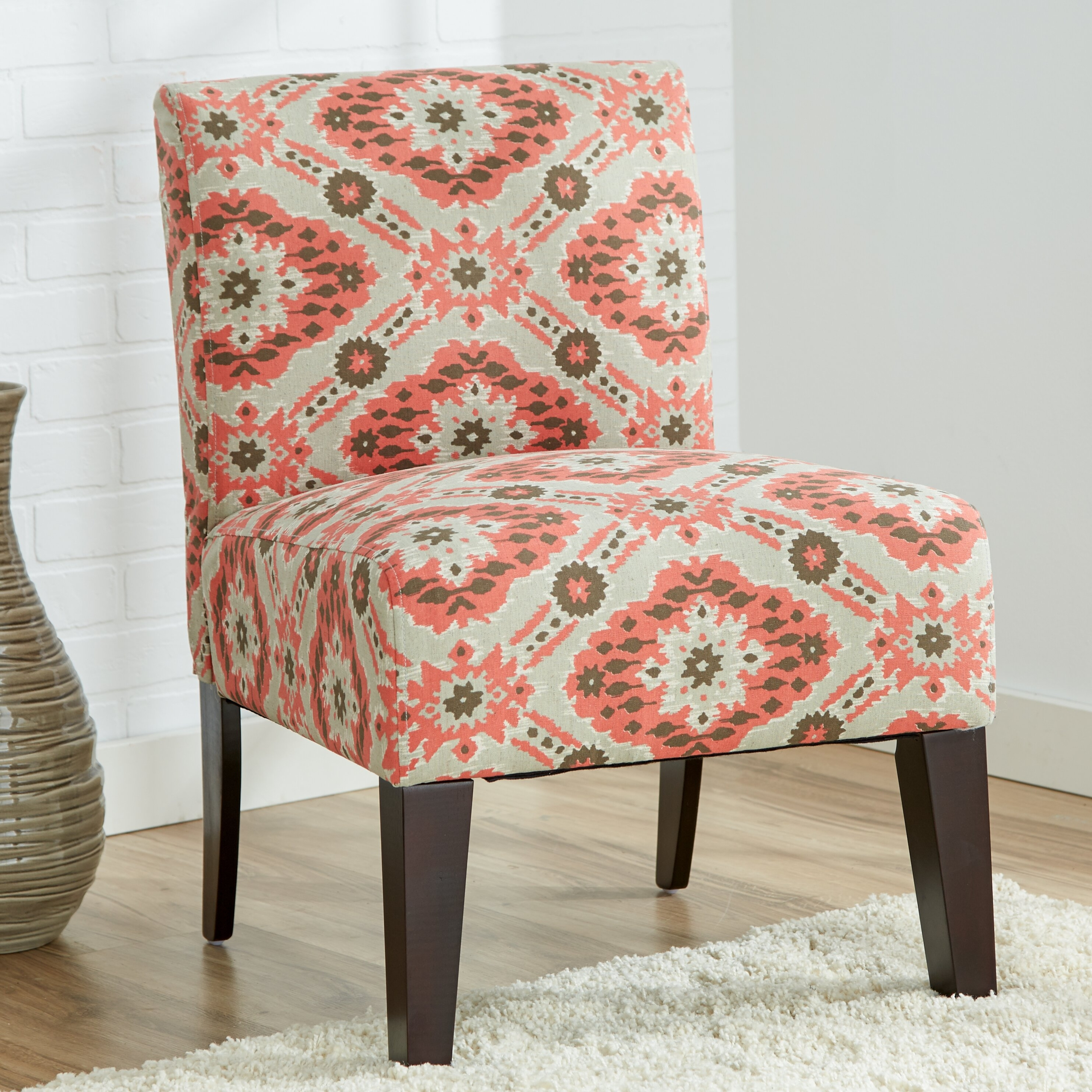 Ikat Slipper Chair In Coral