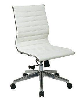 office chair white leather. Mid-Back Eco Leather Office Chair White E