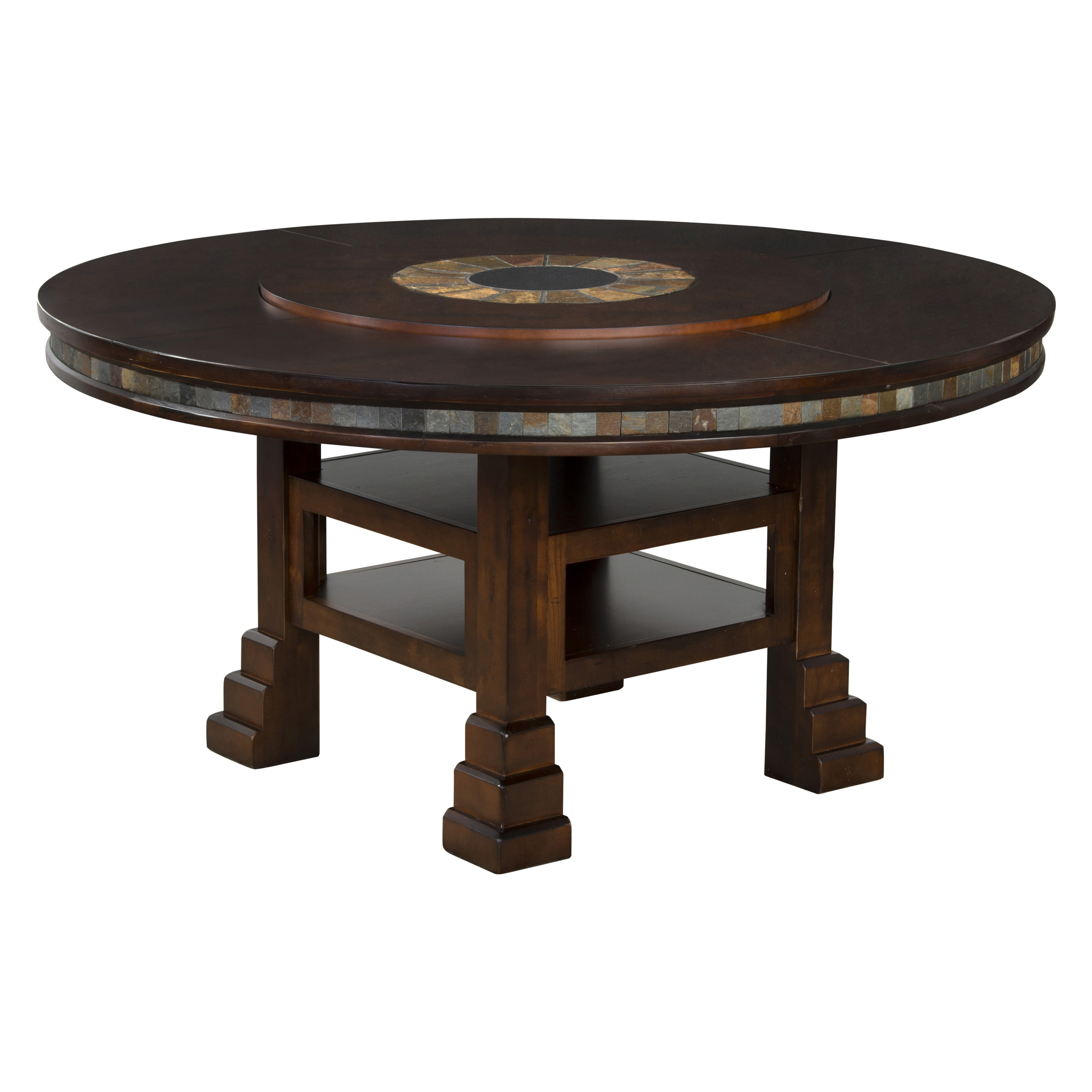 Sunny Designs Santa Fe Round Table With Lazy Susan, 60 Inch