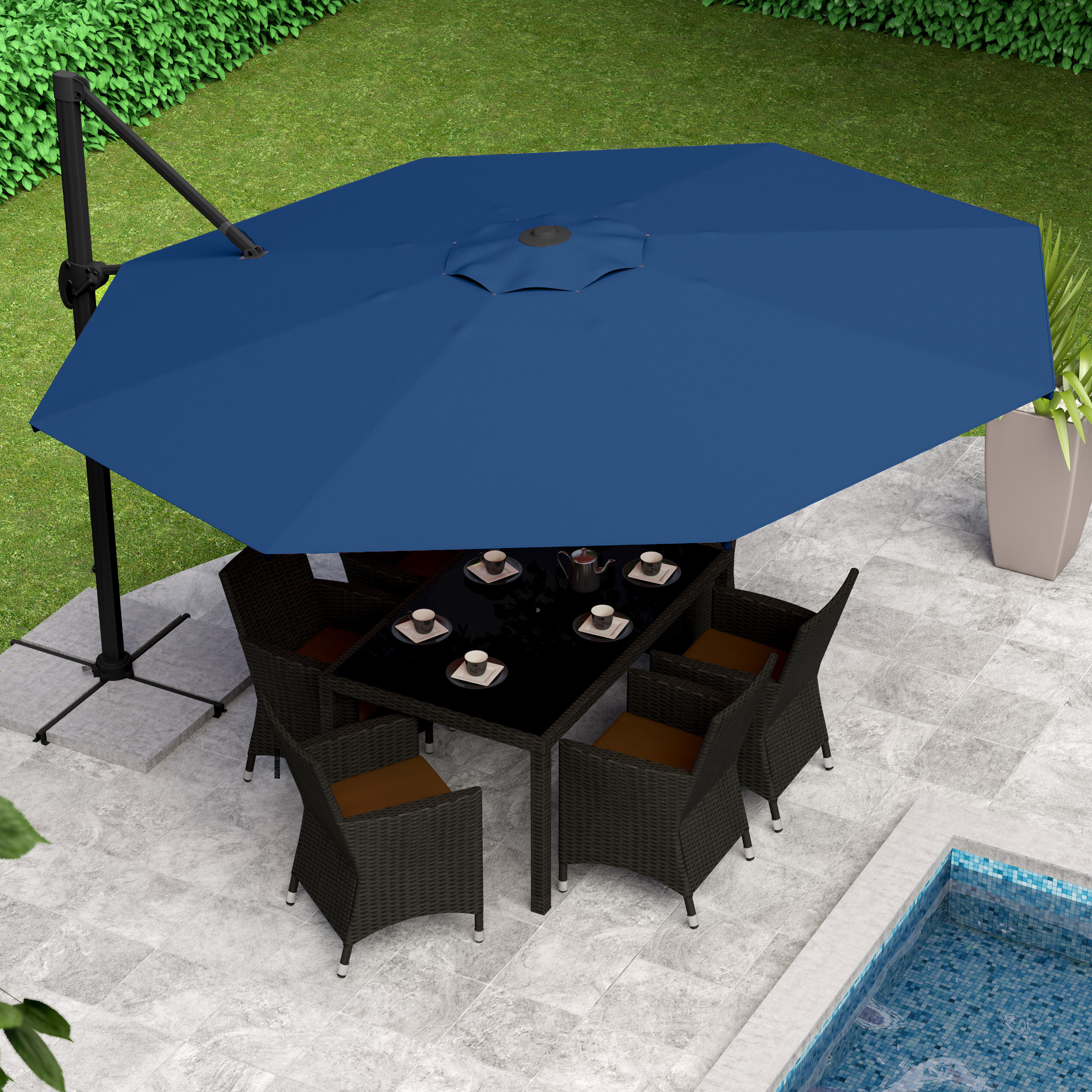 11u0027 Deluxe Offset Patio Umbrella