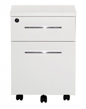 2 Drawer Mobile File Cabinet with Lock & Casters
