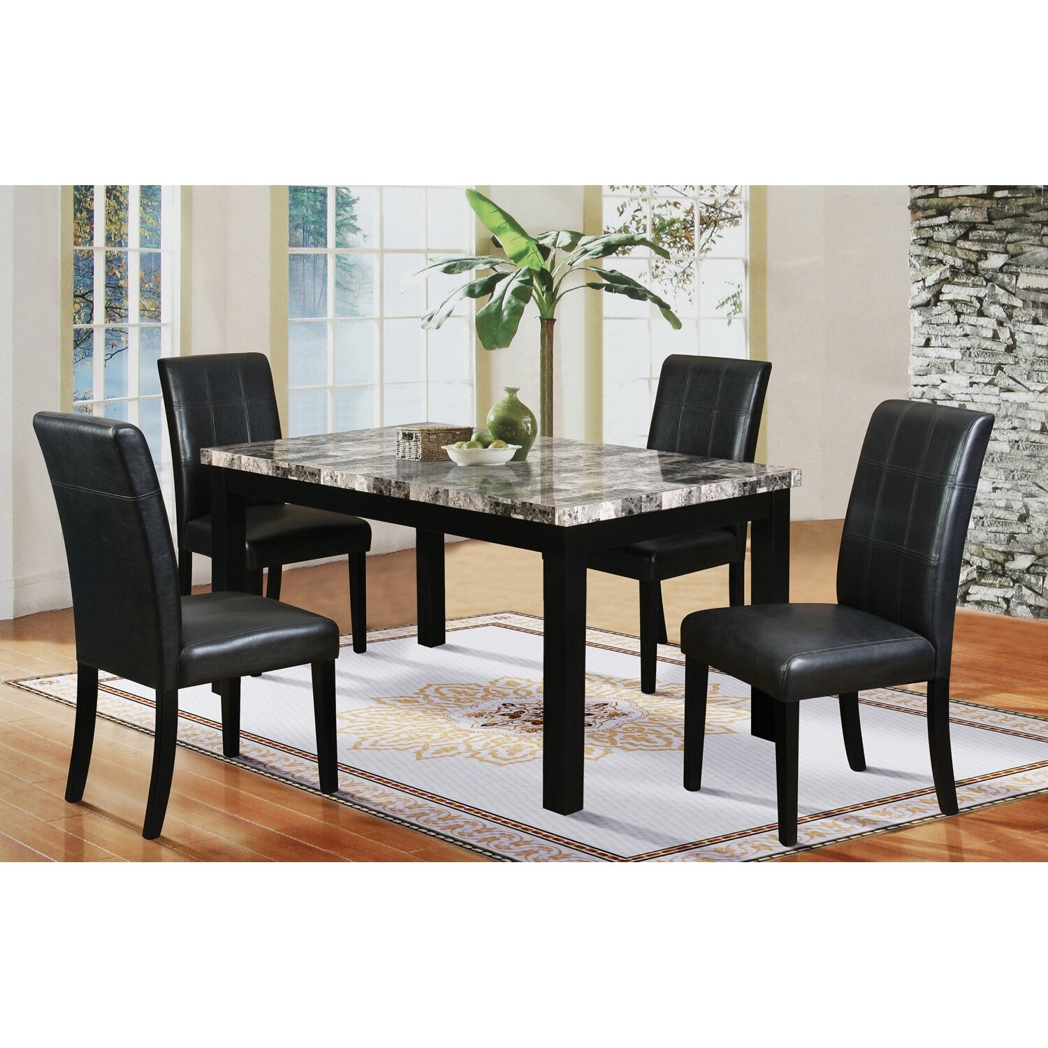 5 Piece Faux Marble Dining Set & Marble Kitchen Table And Chairs - Foter