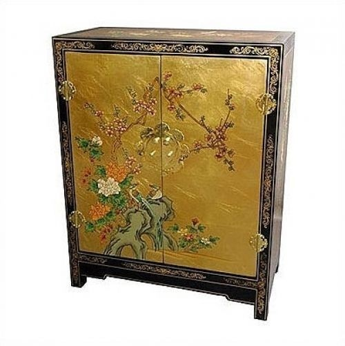 Asian Gold Leaf Lacquer Cabinet