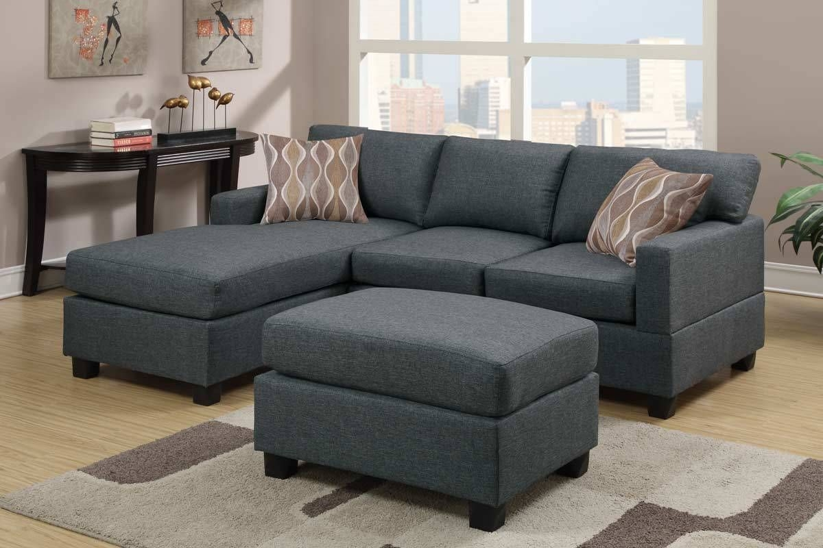 Bobkona Lexington Reversible Chaise Sectional Sofa With Ottoman