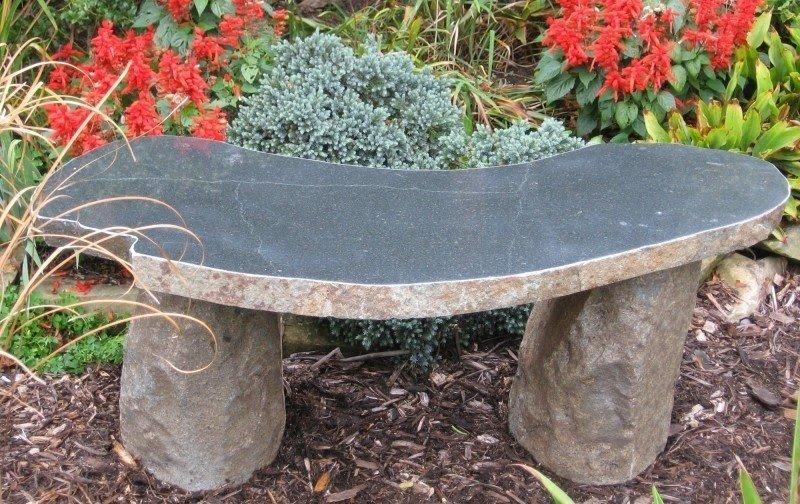 Curved Boulder Garden Bench