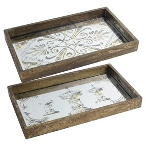 Cynthia Mirrored Tray (Set of 2)