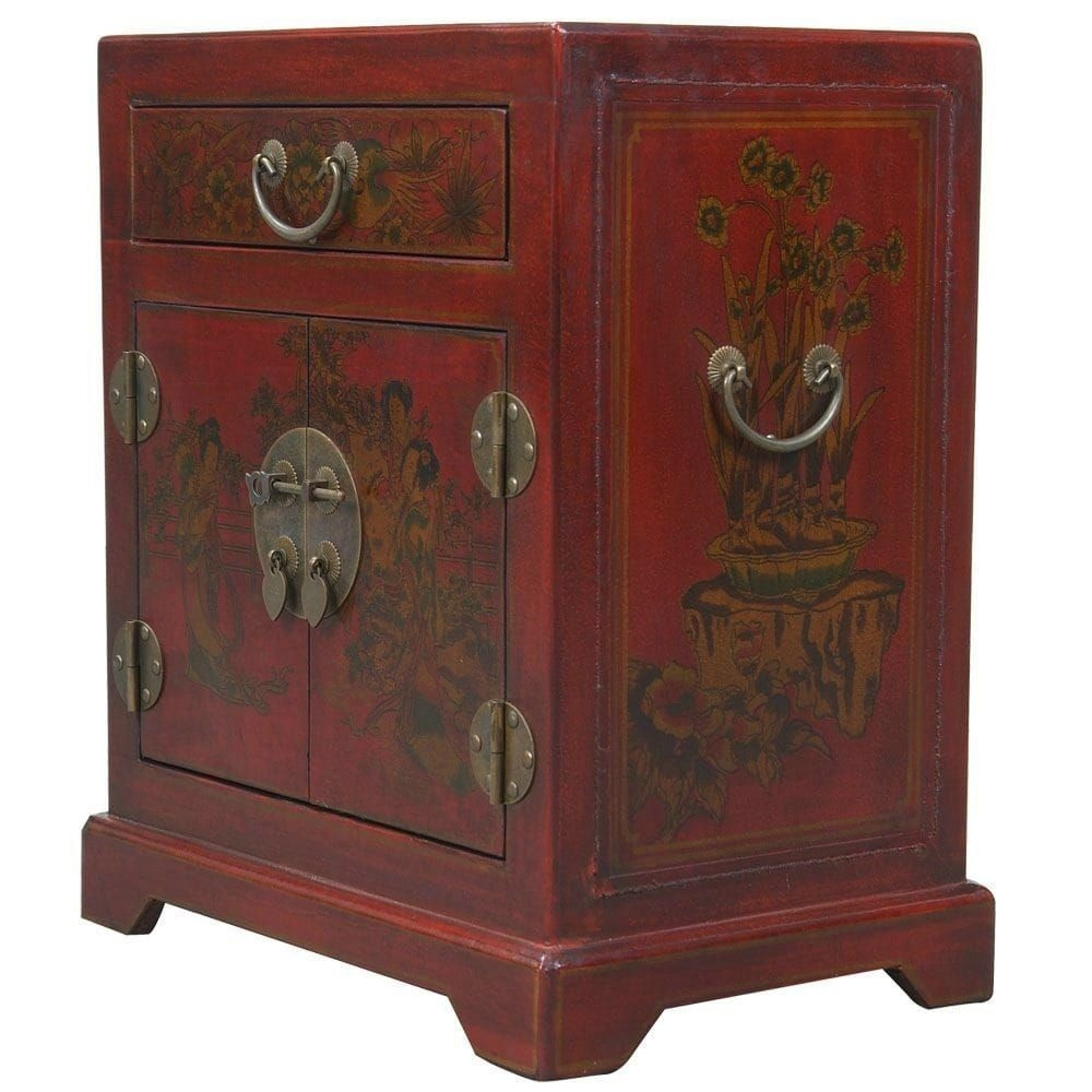 Handmade Tang Dynasty Style Red Bonded Leather Accent Table