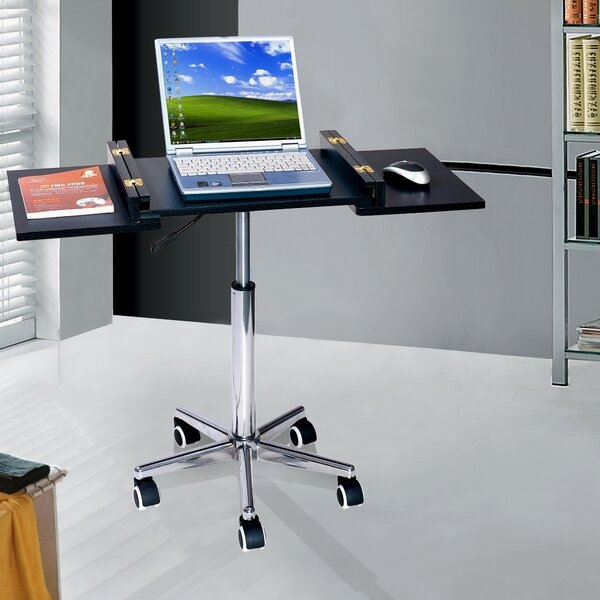 Aesthetic Practical Modern Laptop Cart. It Has A 5 Arm Castered Base And A  Sleek Round Column With Adjustabe Height Of Chromed Steel.