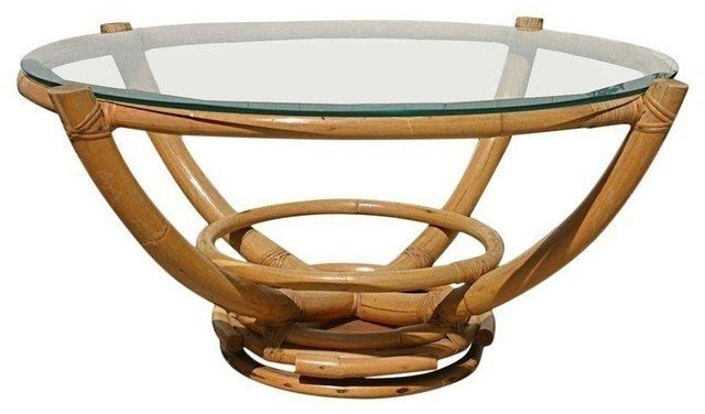 Vintage bamboo glass swivel coffee table tropical coffee tables