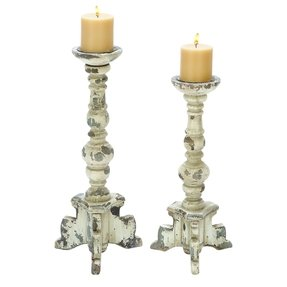 2 Piece Contemporary Wood Candle Holder Set