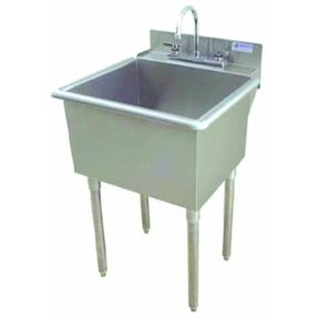 "24"" x 24"" Single Utility Sink with Drain Faucet"