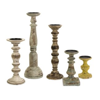 5 Piece Kanan Wood Candle Holder Set