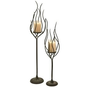Anemone Wrought Iron and Glass Hurricane (Set of 2)