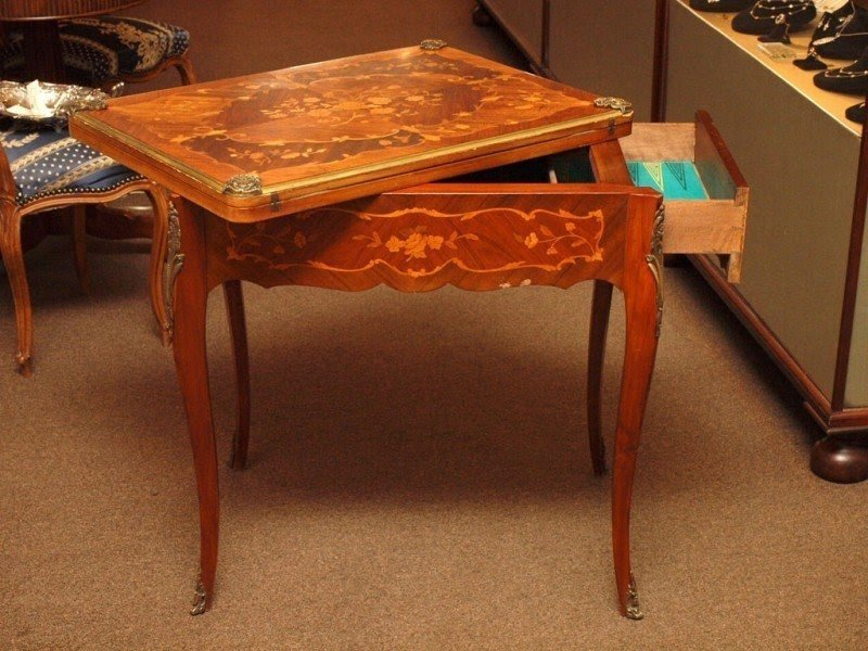 Antique French Rococo Style Games Table