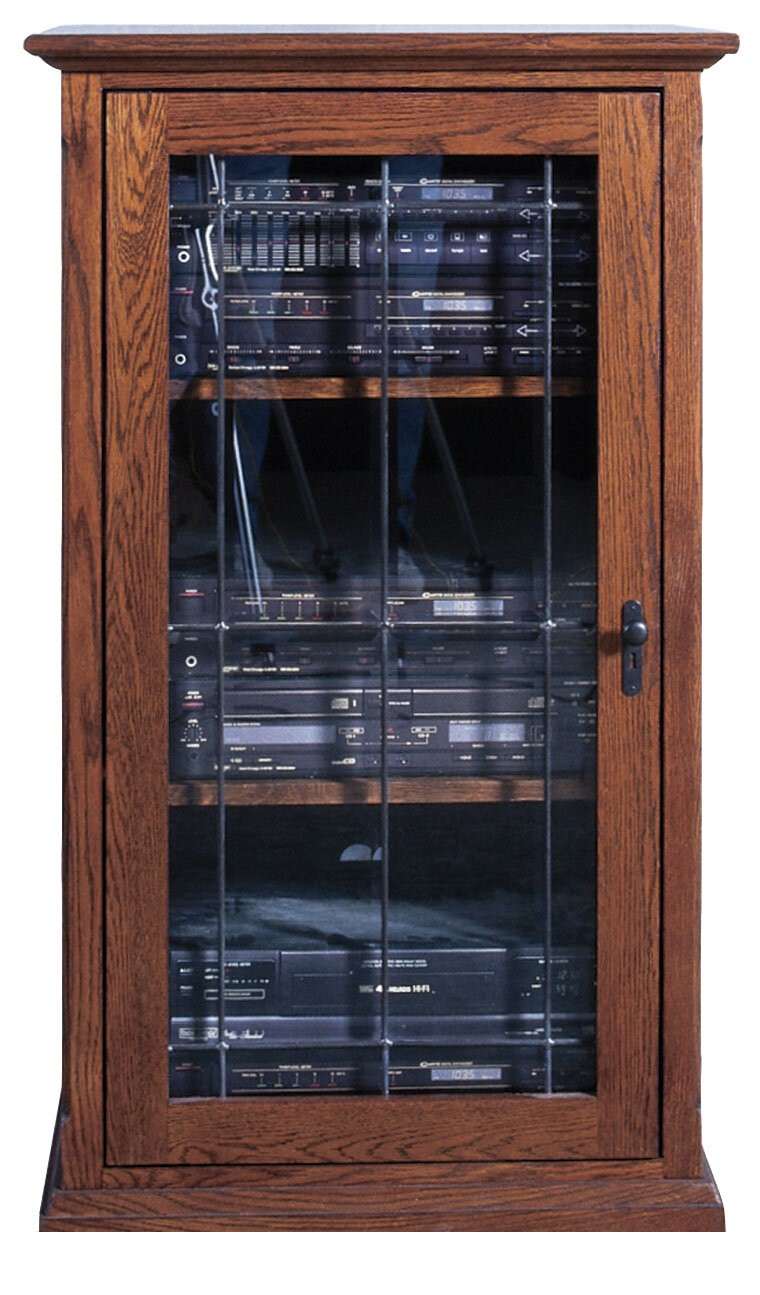 Tower Audio Cabinet With Glass Doors. Wooden Construction And Traditional  Design. Three Adjustable Shelves Inside, With Multiple Options For Spacing  And ...