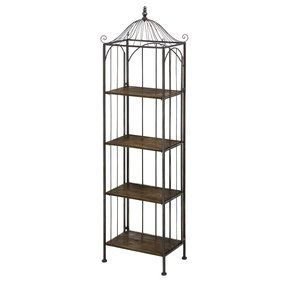 Bird Cage Metal and Wood Display Shelf
