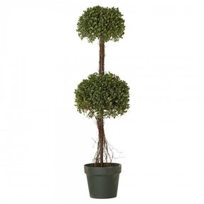 "Boxwood 36"" Faux Double-Ball Topiary in Pot"