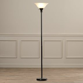 Elyse Metal Torchiere Floor Lamp with Glass Shade