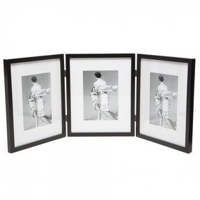 Hinged Triple Picture Frame with Bevel Cut Mats
