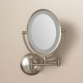 Howell Cordless Dual LED Lighted Oval Wall Mount Mirror with 1X and 10X Magnification