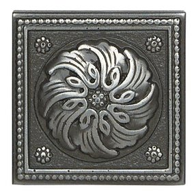 "Metal Ages 2"" x 2"" Celtic Glazed Decorative Tile Insert in Polished Pewter"