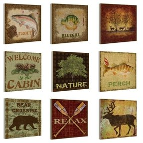 Nature and Outdoors 9 Piece Wall Plaque Set